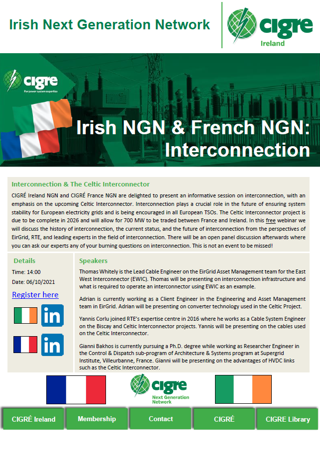Interconnection: A joint CIGRÉ Ireland and CIGRÉ France NGN Event
